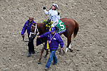 November 2, 2018: Bulletin #5, ridden by Javier Castellano, wins the Juvenile Turf Sprint on Breeders' Cup World Championship Friday at Churchill Downs on November 2, 2018 in Louisville, Kentucky. John Voorhees/Eclipse Sportswire/CSM
