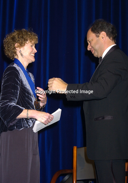Judy Blume and Harold Augenbraum ..at the National Book Awards on November 17, 2004 at The Marriott Marquis. Photo by Robin Platzer, Twin Images