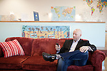 December 23, 2010. Durham, NC.. Brian OliverSmith, the CEO of Urban Planet Mobile, in his offices in downtown Durham..Brian OliverSmith, is the CEO of Urban Planet Mobile. The company sells company mobile educational products, such as language lessons and SAT prep courses, that are delivered via text message to subscribers all over the world.