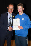 St Johnstone FC Academy Awards Night...06.04.15  Perth Concert Hall<br /> Alec Cleland presents a certificate to Cameron Lumsden<br /> Picture by Graeme Hart.<br /> Copyright Perthshire Picture Agency<br /> Tel: 01738 623350  Mobile: 07990 594431