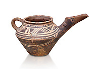 "Early Minoan clay decorated ""teapot"" with elongated spout,  Michlos Cemetery 2600-1900 BC BC, Heraklion Archaeological  Museum, white background."