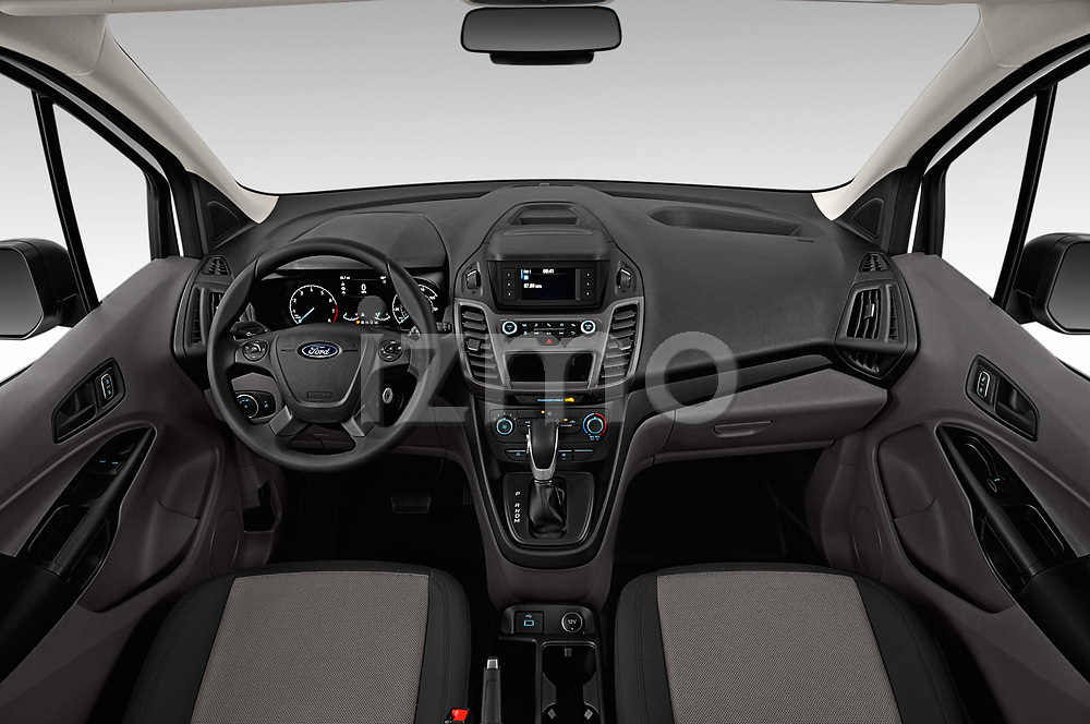 Stock photo of straight dashboard view of 2019 Ford Transit-Connect XL 5 Door Car Van Dashboard