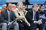17 November 2015: UNC head coach Sylvia Hatchell (center) with assistant coaches Bill Lee (left) and Andrew Calder (right). The University of North Carolina Tar Heels hosted the Florida A&M University Rattlers at Carmichael Arena in Chapel Hill, North Carolina in a 2015-16 NCAA Division I Women's Basketball game. UNC won the game 94-58.