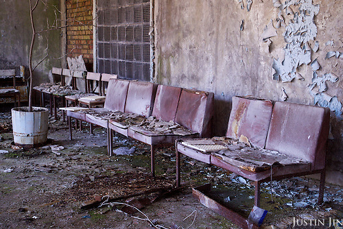 A hospital waiting room in Pripyat, a ghost town left deserted by the nuclear disaster in the Chernobyl power station nearby. 30 years on, the city is still heavily contaminated, unfit for human life. <br /> <br /> The Chernobyl nuclear disaster happened on 26 April 1986.
