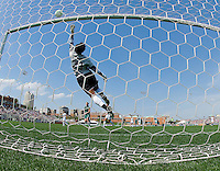 Los Angeles Sol goalkeeper Karina LeBlanc (23) jumps up as the ball hits the crossbar against the St. Louis Athletica during a WPS match at Hermann Stadium, in St. Louis, MO, April 25 2009. The match ended in a 0-0 tie.