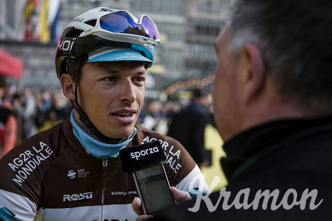 Oliver Naesen (BEL/AG2R La Mondiale) pre race sporza interview<br /> <br /> 103rd Ronde van Vlaanderen 2019<br /> One day race from Antwerp to Oudenaarde (BEL/270km)<br /> <br /> ©kramon