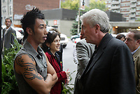 Montreal (QC) CANADA, October 3rd 2007 -<br /> Gilles Duceppe, leader of the Bloc Quebecois (R)  at the<br /> Launch of Montreal Designer Dinh Ba, at his boutique on Amherst street in Montreal.<br /> <br /> <br /> photo : (c) &uml;Pierre Roussel -  images Distribution