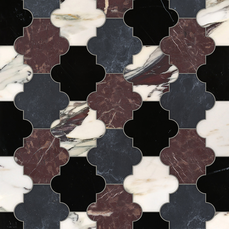 Andre, a waterjet cut stone mosaic, shown in polished Nero Marquina, Chinese Purple and Plumeria with honed Orpheus Black, is part of the Semplice® collection for New Ravenna.