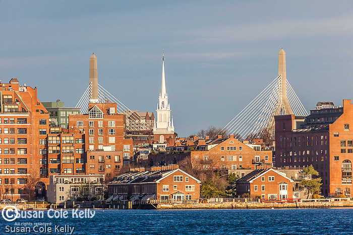 Old North Church and the Zakim Bridge on Boston Harbor, Boston, MA, USA