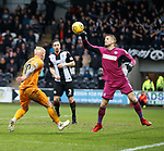 02.03.2019: St Mirren v Livingston: Vaclav Hladky punches clear from Craig Sibbald