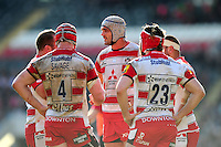 Gloucester players have a word during a break in play. Aviva Premiership match, between Leicester Tigers and Gloucester Rugby on April 2, 2016 at Welford Road in Leicester, England. Photo by: Patrick Khachfe / JMP