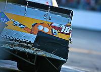 Kyle Busch's damages Toyota in the pits during the Daytona 500, Daytona International Speedway, Daytona beach, Florida, February 20, 2011.  (Photo by Brian Cleary/www.bcpix.com)
