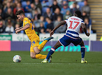 Preston North End's Sean Maguire (left) is brought down by Reading's Andy Yiadom's  (right) tackle<br /> <br /> Photographer David Horton/CameraSport<br /> <br /> The EFL Sky Bet Championship - Reading v Preston North End - Saturday 19th October 2019 - Madejski Stadium - Reading<br /> <br /> World Copyright © 2019 CameraSport. All rights reserved. 43 Linden Ave. Countesthorpe. Leicester. England. LE8 5PG - Tel: +44 (0) 116 277 4147 - admin@camerasport.com - www.camerasport.com