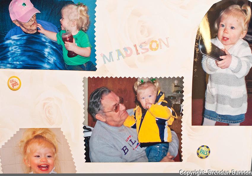 A page dedicated to Madison, Al Nachreiner's grand daughter, from Nachreiner's family photo album. Upper left Alice Nachreiner, Al's wife, with Madison;  upper  right Madison; center Al Nachreiner and Madison; lower left, Madison.