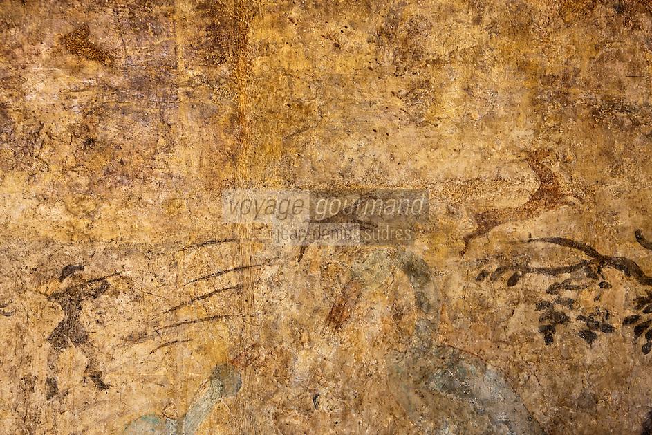 Europe/France/Midi-Pyrénées/32/Gers/Valence-sur-Baïse: Abbaye de Flaran _ Peintures murale du Logis Abbatial XVIII éme siècle à l'étage