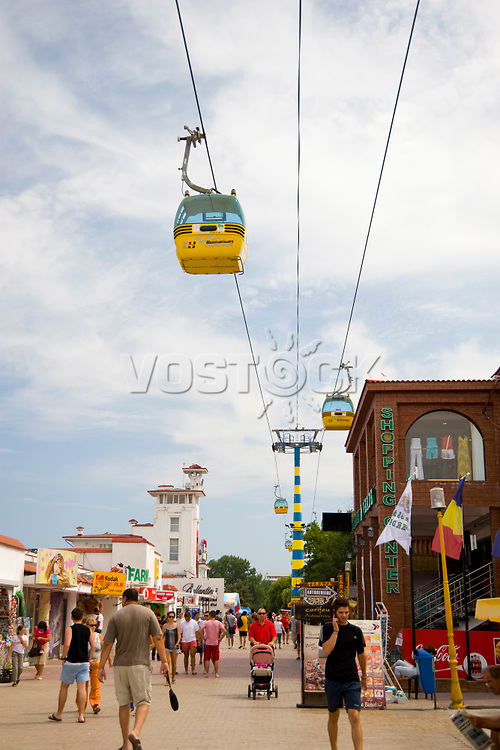 A cable car running over the Black Sea beach resort of Mamaia, Romania, Europe
