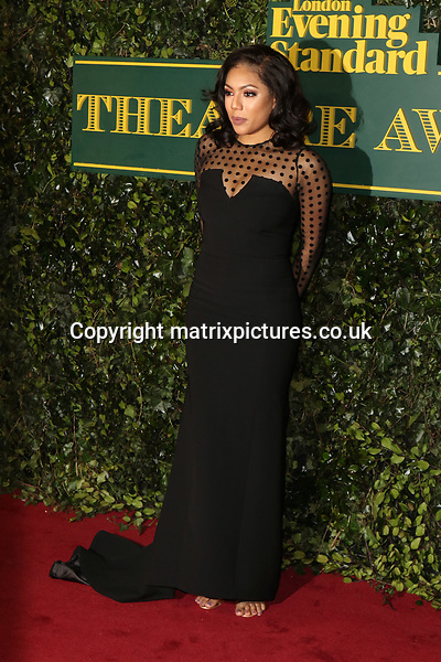 NON EXCLUSIVE PICTURE: MATRIXPICTURES.CO.UK<br /> PLEASE CREDIT ALL USES<br /> <br /> WORLD RIGHTS<br /> <br /> Liisi LaFontaine attends the Evening Standard Theatre Awards 2017 at Theatre Royal, Drury Lane in London. <br /> <br /> DECEMBER 3rd 2017<br /> <br /> REF: MES 172784