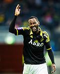 ***BETALBILD***  <br /> Solna 2015-05-10 Fotboll Allsvenskan AIK - IFK Norrk&ouml;ping :  <br /> AIK:s Henok Goitom reagerar under matchen mellan AIK och IFK Norrk&ouml;ping <br /> (Foto: Kenta J&ouml;nsson) Nyckelord:  AIK Gnaget Friends Arena Allsvenskan IFK Norrk&ouml;ping arg f&ouml;rbannad ilsk ilsken sur tjurig angry depp besviken besvikelse sorg ledsen deppig nedst&auml;md uppgiven sad disappointment disappointed dejected