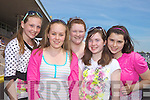 Brenda O'Donoghue, Caroline Buckly, Michelle Collins, Caoimhe Dowling, Olivia Quirke-McFarlane from Listowel at Listowel Races on Sunday.