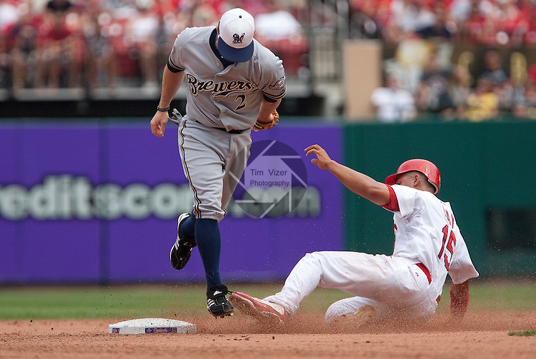 July 4, 2010          Milwaukee Brewers right fielder Joe Inglett (2) steps on second base for the out as St. Louis Cardinals left fielder Jon Jay (15) slides in the bottom of the fifth inning.  The St. Louis Cardinals defeated the Milwaukee Brewers 7-1 in the final game of a four-game homestand at Busch Stadium in downtown St. Louis, MO on Sunday July 4, 2010.