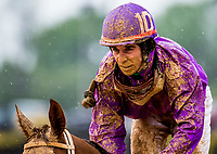 CHARLES TOWN, WV - APRIL 22: A muddy Roche #10 and Victor Rodriguez return to the unsaddling area after finishing off the board in the Original Gold Stakes on Charles Town Classic Day at Charles Town Races and Slots on April 22, 2017 in Charles Town, West Virginia (Photo by Scott Serio/Eclipse Sportswire/Getty Images)