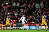 6th December 2017, Wembley Stadium, London England; UEFA Champions League football, Tottenham Hotspur versus Apoel Nicosia; Dele Alli of Tottenham Hotspur gets inbetween Lorenzo Ebecilio and Nuno Morais of Apoel FC