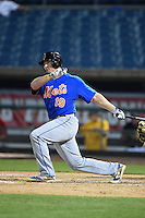 Dayton Dugas (19) of Sam Houston High School in Lake Charles, Louisiana playing for the New York Mets scout team during the East Coast Pro Showcase on July 31, 2014 at NBT Bank Stadium in Syracuse, New York.  (Mike Janes/Four Seam Images)