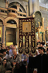 Israel, Jerusalem, Greek Orthodox feast of the Exaltation of the Cross, at the Katholikon, the Church of the Holy Sepulchre