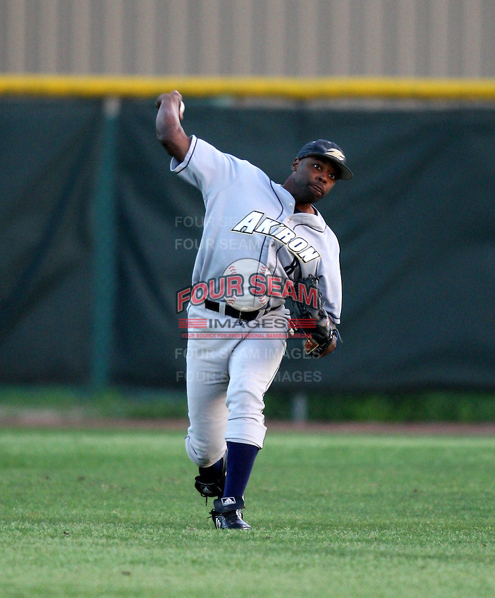 March 13, 2010:  Center fielder Lawrence Penn of the Akron Zips vs. the Yale Bulldogs in a game at Henley Field in Lakeland, FL.  Photo By Mike Janes/Four Seam Images