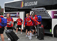 20140715 - Strømmen , NORWAY : Belgian team pictured arriving before the female soccer match between Women under 19 teams of  Belgium and Scotland , on the first matchday in group A of the UEFA Women Under19 European Championship at Strommen Stadion , Norway . Tuesday 15th July 2014 . PHOTO DAVID CATRY