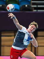 25 JUL 2012 - LONDON, GBR - Lyn Byl (GBR) of Great Britain shoots during the women's London 2012 Olympic Games warm up handball match against Spain at The Copper Box in the Olympic Park, in Stratford, London, Great Britain (PHOTO (C) 2012 NIGEL FARROW)