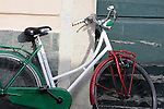 """Red, green and white bike in Menaggio (town on Lake Como, Italy) that has """"Italian Dream"""" written on it."""