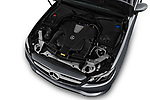 Car stock 2018 Mercedes Benz E Class Executive 2 Door Coupe engine high angle detail view