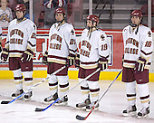 Brian O'Hanley, Benn Ferreiro, Brock Bradford, Kyle Kucharski - The Boston College Eagles and Ferris State Bulldogs tied at 3 in the opening game of the Denver Cup on Friday, December 30, 2005, at Magness Arena in Denver, Colorado.  Boston College won the shootout to determine which team would advance to the Final.