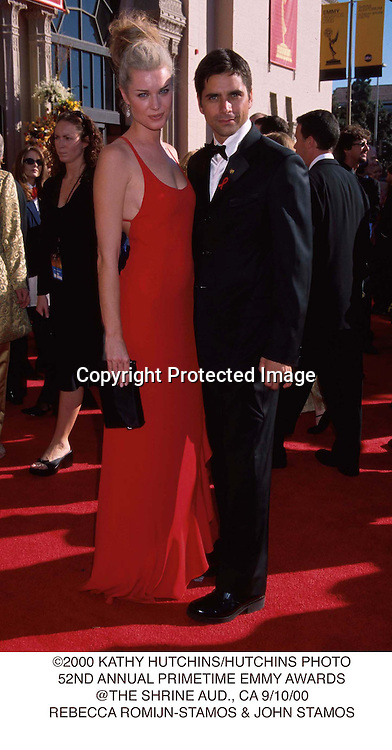 ©2000 KATHY HUTCHINS/HUTCHINS PHOTO.52ND ANNUAL PRIMETIME EMMY AWARDS.@THE SHRINE AUD., CA 9/10/00.REBECCA ROMIJN-STAMOS & JOHN STAMOS