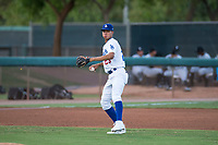 AZL Dodgers third baseman Leonel Valera (23) prepares to make a throw to first base during an Arizona League game against the AZL White Sox at Camelback Ranch on July 3, 2018 in Glendale, Arizona. The AZL Dodgers defeated the AZL White Sox by a score of 10-5. (Zachary Lucy/Four Seam Images)