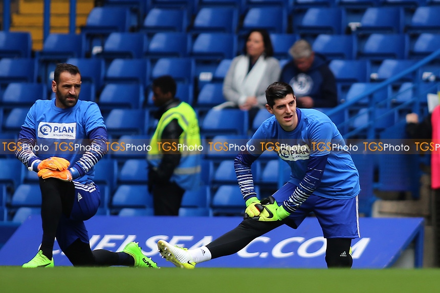 Thibaut Courtois of Chelsea warming up before KO during Chelsea vs Crystal Palace, Premier League Football at Stamford Bridge on 1st April 2017