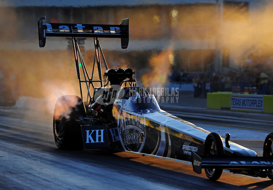 Sept. 18, 2011; Ennis, TX, USA: NHRA top fuel dragster driver Larry Dixon during qualifying for the Fall Nationals at the Texas Motorplex. Mandatory Credit: Mark J. Rebilas-
