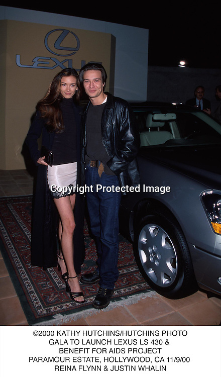 ©2000 KATHY HUTCHINS/HUTCHINS PHOTO.GALA TO LAUNCH LEXUS LS 430 & .BENEFIT FOR AIDS PROJECT.PARAMOUR ESTATE, HOLLYWOOD, CA 11/9/00 .REINA FLYNN & JUSTIN WHALIN
