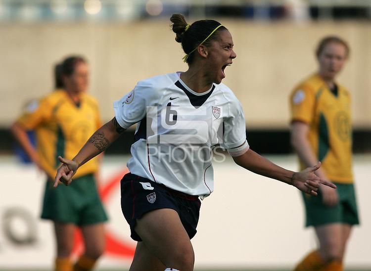 Oct 31, 2006: Cheonan, South Korea:  USWNT forward Natasha Kai (6) celebrates her goal at Cheonan Stadium. The US defeated Australia, 2-0.