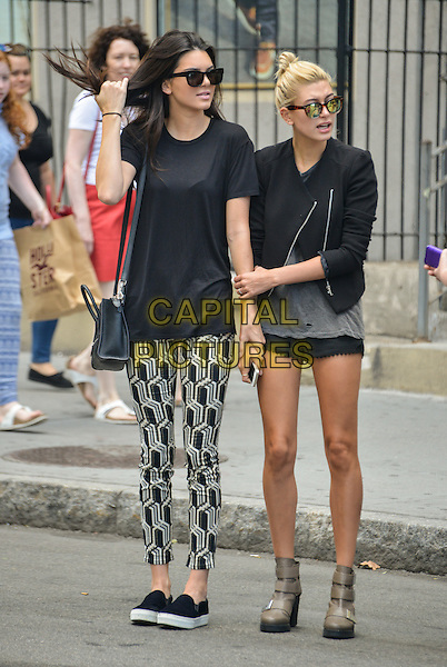 NEW YORK, NY - AUGUST 29: Kendall Jenner and Hailey Baldwin try to hail a cab in seen in Soho in New York, New York on August 29, 2014. <br /> CAP/MPI/mpi67<br /> &copy;mpi67/MediaPunch/Capital Pictures