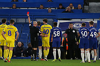 Referee, Mr Charles Breakspear shows a red card to AFC Wimbledon's Anthony Wordsworrth during Chelsea Under-21 vs AFC Wimbledon, Checkatrade Trophy Football at Stamford Bridge on 4th December 2018