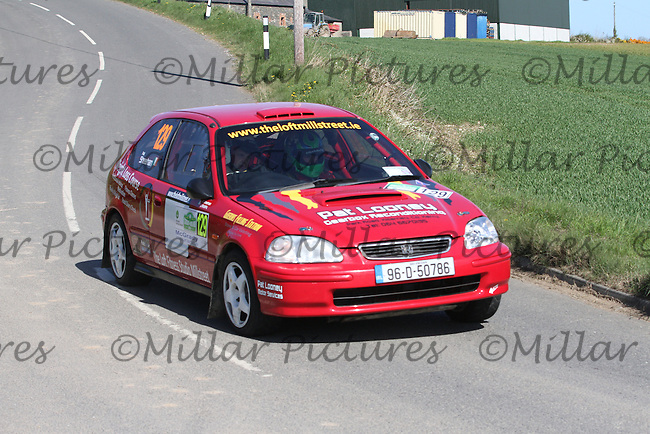 Pat Sheehan - Jordan Murphy in a Honda Civic near Junction 4 on Special Stage 1 Loughries Village of the Discover Northern Ireland Circuit of Ireland Rally which was a constituent round of  the FIA European Rally Championship, the FIA Junior European Rally Championship, the Clonakilty Irish Tarmac Rally Championship, and the MSA ANICC Northern Ireland Stage Rally Championships which took place on 18.4.14 and 19.4.14 and was based in Belfast.