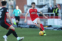 Joe Maguire of Fleetwood Town (right) during the Sky Bet League 1 match between Fleetwood Town and MK Dons at Highbury Stadium, Fleetwood, England on 24 February 2018. Photo by David Horn / PRiME Media Images