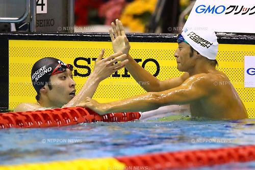 (L-R) Kosuke Hagino, Ryosuke Irie, <br /> APRIL 16, 2017 - Swimming : <br /> Japan swimming championship (JAPAN SWIM 2017) <br /> men's 200m Backstroke final <br /> at Nippon Gaishi Arena, Nagoya, Aichi, Japan. <br /> (Photo by Sho Tamura/AFLO SPORT)