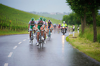 Team Sojasun setting the pace for the peloton as it starts raining heavily along the way<br /> <br /> 2013 Tour of Luxemburg<br /> stage 1: Luxembourg - Hautcharage (184km)