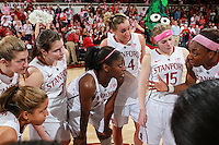 STANFORD, CA - February 12, 2011: Stanford Cardinal's Nnemkadi Ogwumike and team after Stanford's 82-59 victory over UCLA at Maples Pavilion.