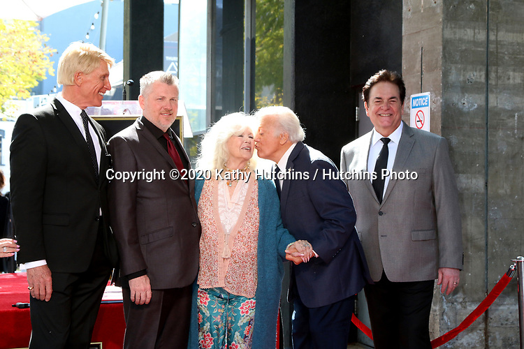 LOS ANGELES - FEB 24:  Donovan Tea, Rob Gulack,  Connie Stevens, Tony Butala, Bobby Poynton at the The Lettermen Star Ceremony on the Hollywood Walk of Fame on February 24, 2019 in Los Angeles, CA