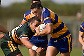 P. Mata makes a break past Sione Anga'aelangi. CMRFU Counties Power Premier Club Rugby game between Patumahoe & Pukekohe played at Patumahoe on April 12th, 2008..The halftime score was 10 all with Pukekohe going on to win 23 - 18.