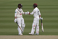 Mark Stoneman (L) and Rory Burns enjoy a useful partnership for Surrey during Surrey CCC vs Essex CCC, Specsavers County Championship Division 1 Cricket at the Kia Oval on 11th April 2019
